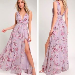 Lulu's Garden Meandering Lavender Floral Dress